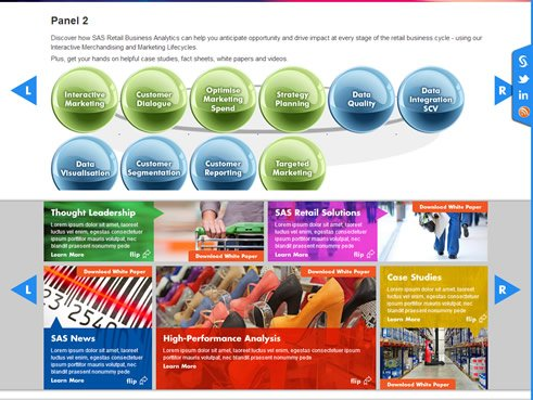 SAS website event / case studies carousels