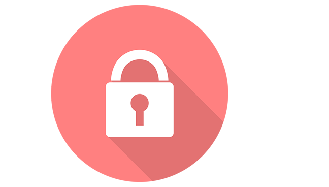 Vector graphic of red circle with white padlock