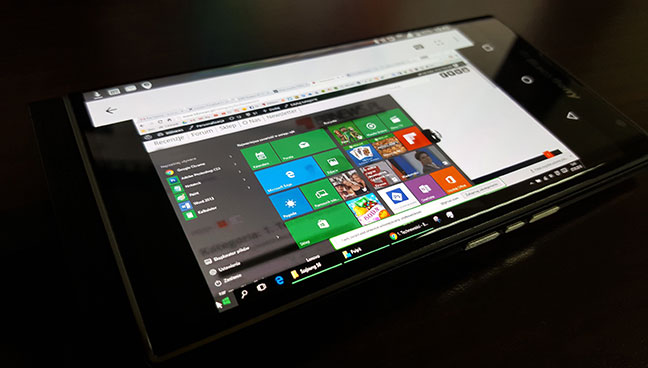 Windows 10 Edge browser on Android smartphone
