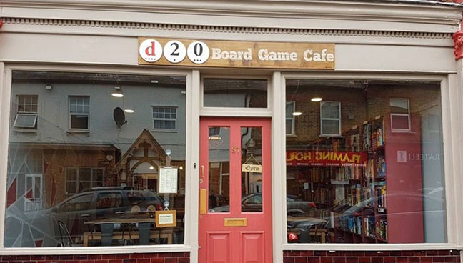 Front of D20 board game cafe in Watford